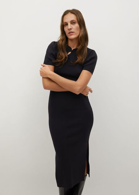 Mango - black Knitted dress with openings