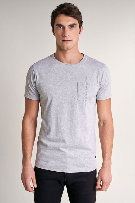 Salsa Jeans - Gray T-shirt with plant dye and pocket