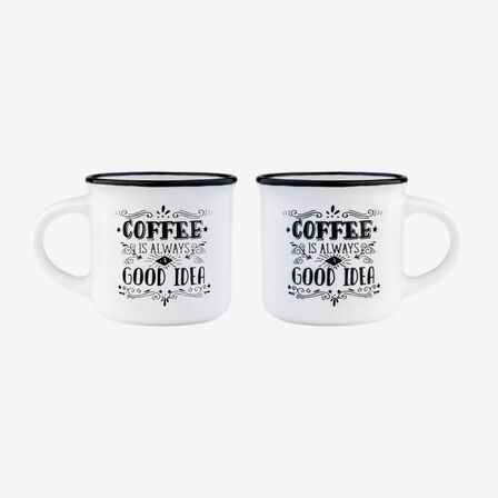 LEGAMI - Legami Espresso for Two Coffee is Always a Good Idea Coffee Mugs [Set of 2]