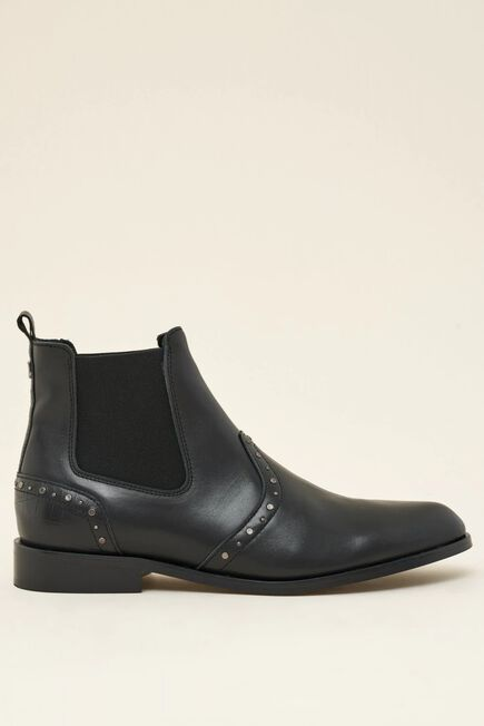 Salsa Jeans - Black Flat leather boots with studs