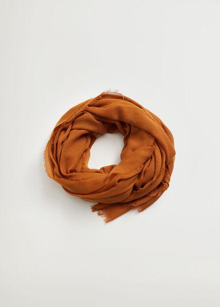 Mango - Dark brown Frayed edge scarf