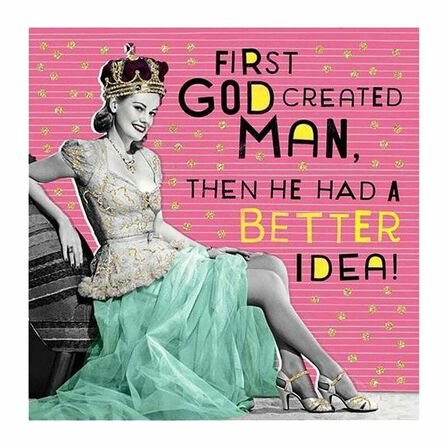 PIGMENT PRODUCTIONS - Nutty Neon God Created Man 160X156 Greeting Card