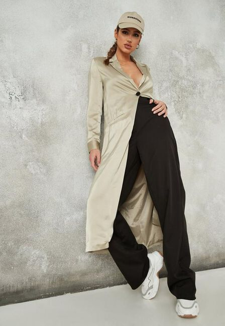 Missguided - Stone Satin Maxi Duster Jacket