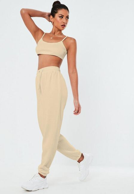 Missguided - Stone Rib Bralet And Joggers Co Ord Set