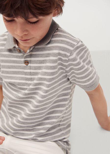 Mango - medium grey Organic cotton printed polo shirt
