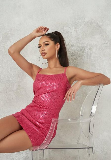 Missguided - Pink Sequin Cami Mini Dress