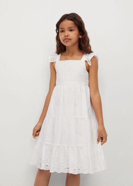 Mango - Natural White Broderie Anglaise Ruffled Dress, Kids Girl