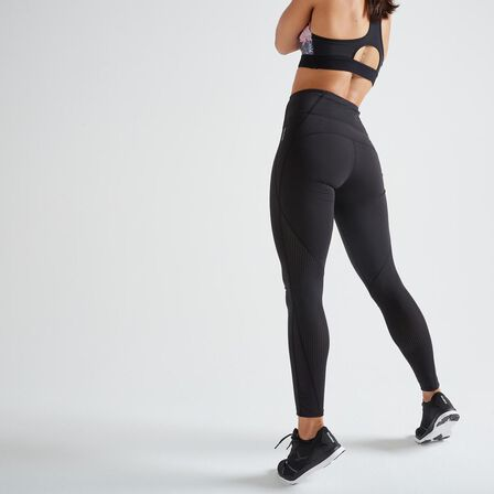 DOMYOS - W30 L31  500 Women's Fitness Cardio Training Leggings, Black