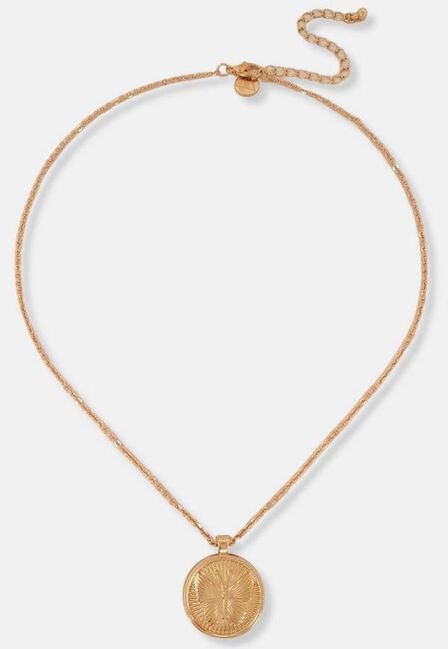 Missguided - Gold Look Butterfly Coin Pendant Necklace, Women