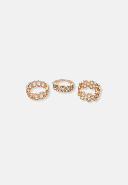 Missguided - 3 Pack Chain Pave Ring