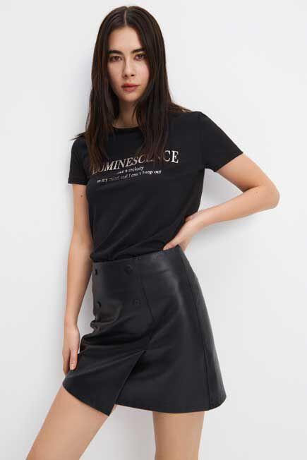 Mohito -  Printed T-Shirt - Black