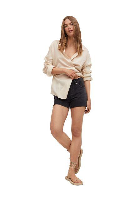 Mango - Open Grey Mini Shorts With Frayed Hem, Women