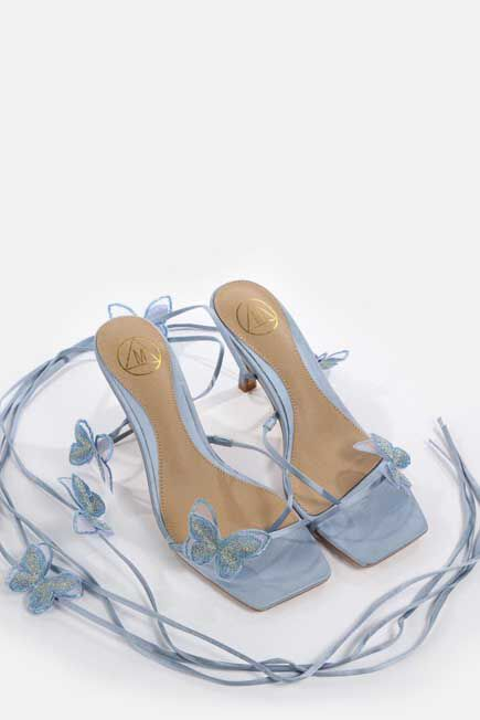Missguided - Blue Butterfly Embroidered Mid Heel Sandals