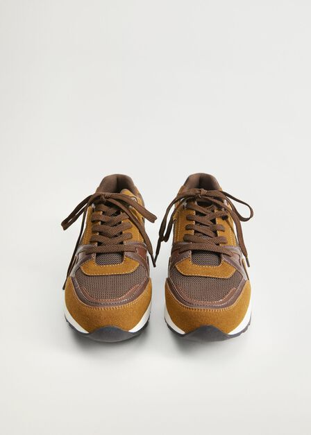 Mango - Brown Leather Mixed Sneakers