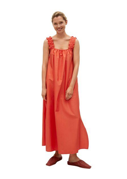 Mango - Medium Red 100% Cotton Midi Dress, Women