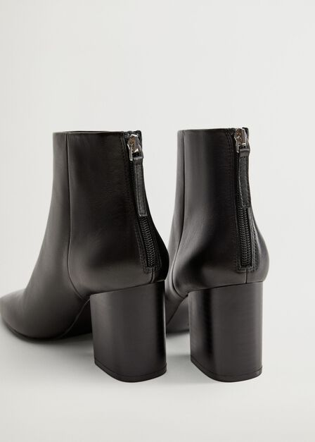 Mango - black Heel leather ankle boot