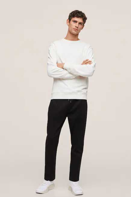 Mango - natural white Basic cotton sweater, Men