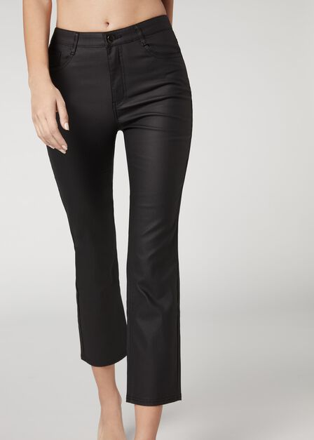 Calzedonia - BLACK Coated Effect Cigarette Jeans