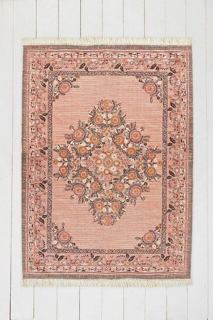 Urban Outfitters - Pink Stina Floral 5X7 Rug