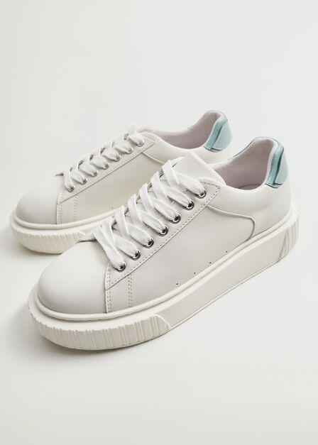 Mango - White Platform lace-up sneakers