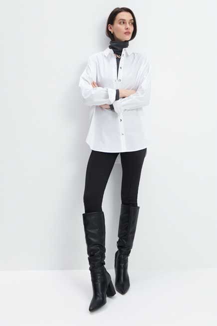 Mohito -  Oversized Cotton Shirt - White