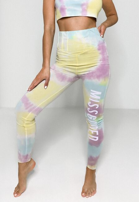 Missguided - Yellow Tie Dye Missguided Corset Detail Leggings