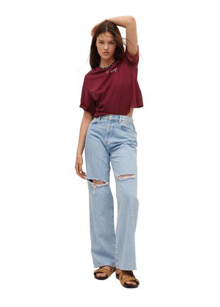 Mango - dark red 100% recycled cotton t-shirt, Women