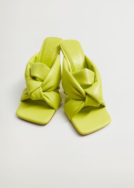 Mango - Bright Green Knot Heel Sandals