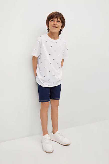 Mango - natural white Boats printed cotton T-shirt, Kids Boy