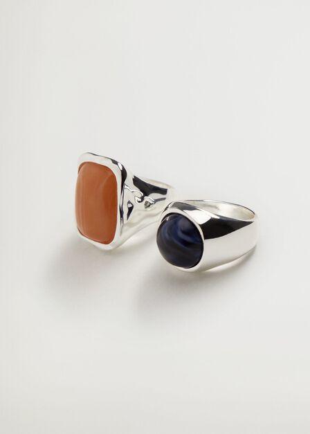 Mango - silver Stone ring set