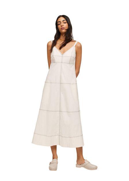 Mango - light beige Contrast seam dress, Women