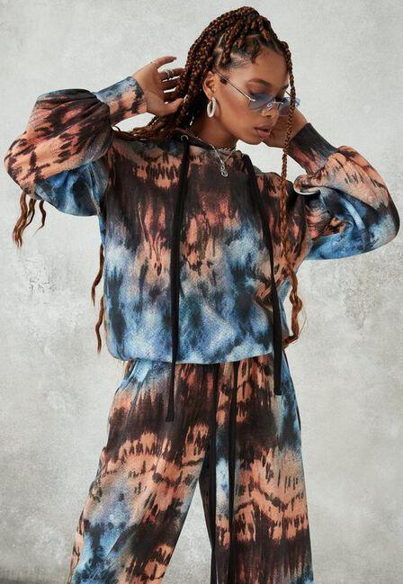 Missguided - Multi Brown Tie Dye Drawstring Oversized Hoodie