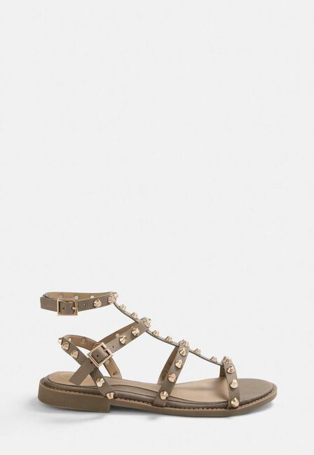 Missguided - Brown Stone Studded Gladiator Sandals