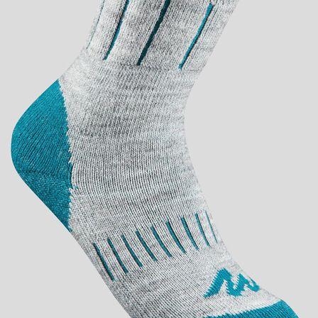 QUECHUA - Kids' mid warm hiking socks sh100 warm x 2 pairs - grey blue