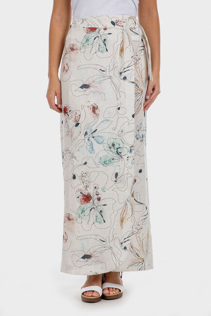 Punt Roma - Floral linen skirt