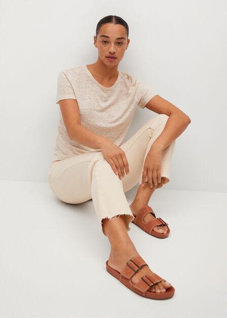Mango - lt pastel brown 100% linen t-shirt, Women