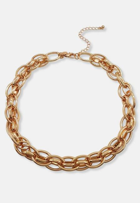 Missguided - Gold Look Interlinked Chain Necklace, Women