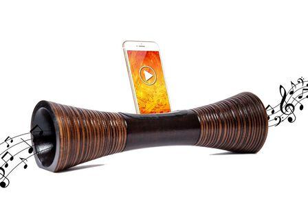 MANGOBEAT - Mangobeat Natural Speaker for Smartphones Striped Maroon [35 cm]