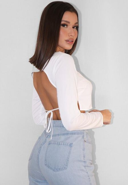 Missguided - White Satin Long Sleeve Open Back Crop Top