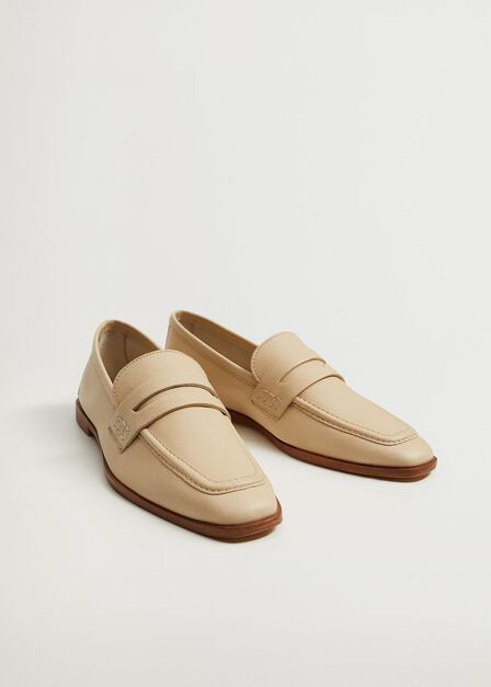 Mango - natural white Leather moccasin