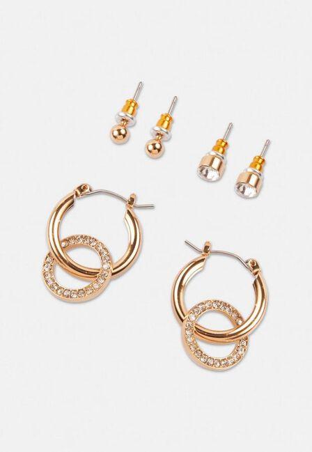 Missguided - Gold Gold Look Stud And Diamante Drop Hoop Earrings 3 Pack