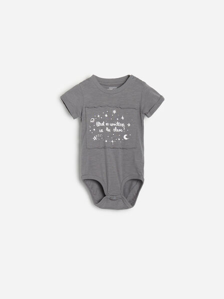 Reserved - Grey Printed Cotton Bodysuit With Patch, Kids Boy