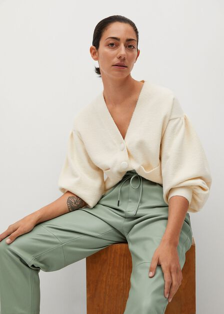 Mango - green Leather-effect elastic waist trousers
