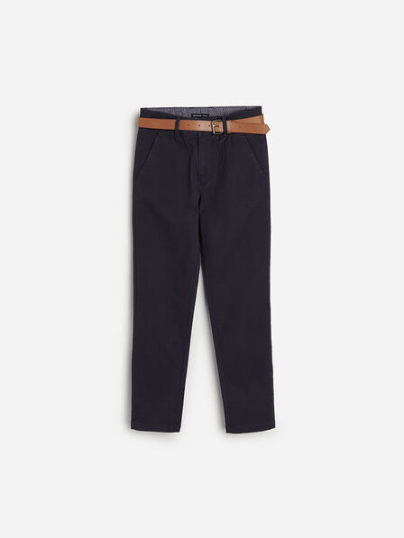 Reserved - Navy Chino Trousers With Belt, Kids Boy
