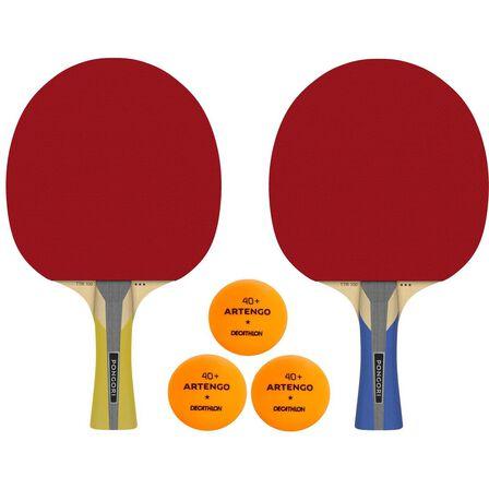 PONGORI - Set Of 2 Ttr 100 3* All-Round Table Tennis Bats And 3 Ttb 100* 40+ Balls Orange - Black