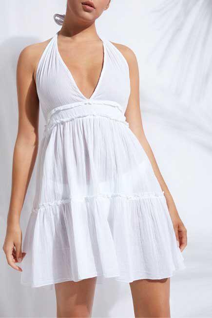Calzedonia - White Short Fabric Dress, Women - One-Size