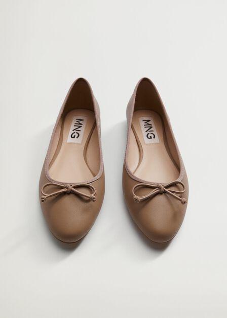 Mango - lt pastel brown Bow ballerina, Women