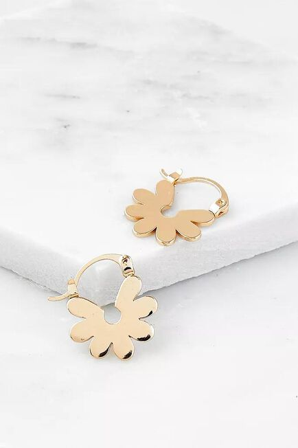 Urban Outfitters - Gold Floral Cut-Out Hoop Earrings