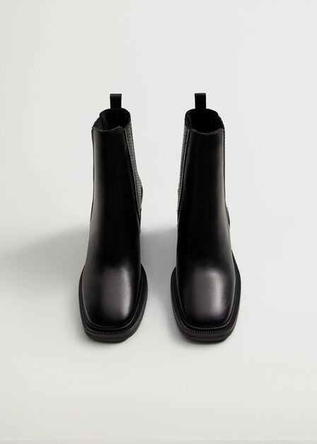 Mango - black Elastic panels leather ankle boots