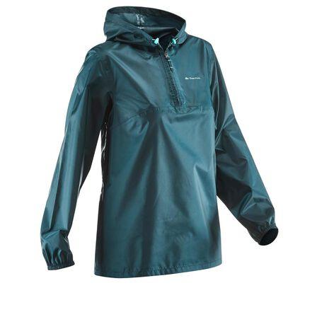 QUECHUA - 2XS/XS  Women's NH100 Country Walking Raincoat, Dark Petrol Blue